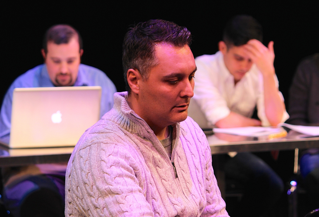 Chris VanDijk plays Richard Burbage in my scene at the 2015 New Play Summit. Matthew Lopez and I are in the background.