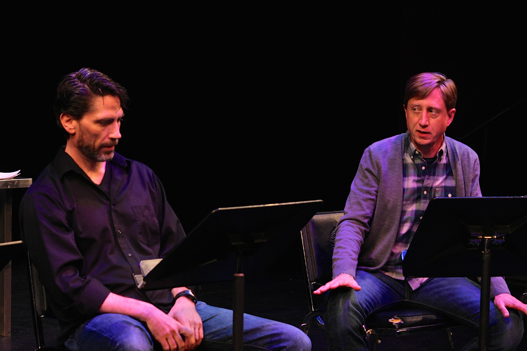 Brian Shea plays William Shakespeare and Chip Persons plays Henry Condell in my scene at the 2015 New Play Summit.